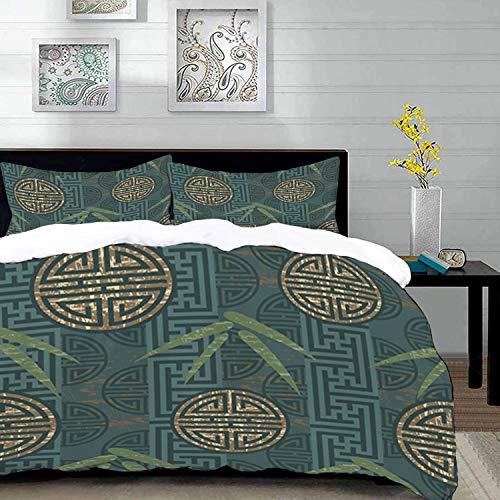 Bettwäsche-Set, Mikrofaser,Bambus, authentische asiatische Komposition mit orientalischen Motiven, orientalische Elemente, blaugrün elfenbeinb 1 Bettbezug 200 x 200cm + 2 Kopfkissenbezug 80x80cm -