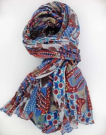 Foulard, écharpe, chèche torsadé 200 x 110, 100% coton Imprimé géométrique bleu ocre
