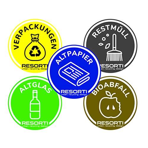 *RESORTI Aufkleber 5er SET für Mülltrennung, Mülleimer, Abfalltrennsystem farbig (Verpackungen/Gelber Sack, Restmüll, Alt-Papier, Biomüll, Alt-glas) UV-Beständig und Wetterfest*
