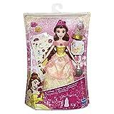 Hasbro Disney Princess- Belle Glitter Abito Decorabile con Brillantini e Adesivi, Multicolore, E5599EU4