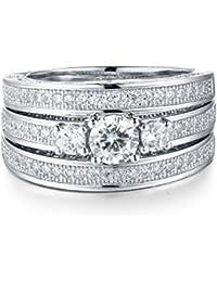 Aurora Tears 3Pcs Plata de ley 925Zircon Rhinestone Diamond conjuntos de anillo