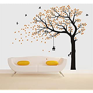 Rocwart Falling Tree Wall Sticker for Living Room Kids Baby Wall Decoration Removable Vinyl Family Tree Wall Decal Art Home Decoration 87x71,Orange+Black