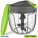 #4: HomePuff 5 Blades Vegetable Chopper, Cutter with Storage Lid (900ml)