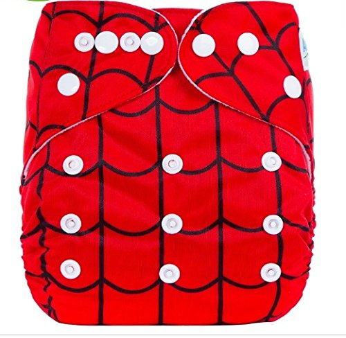 Baby Grow Carters All in One Reusable Diaper One Size Nappy 0-24 months (Red Spidy)