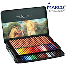 [Marco] ufficiale Shop Marco Renoir fine art 3120 matite acquerellabili, 3.7 mm super spessa piombo, fragrante Ceder Wood, Ultimate set per artista, lama affilata, pennello incluso 48 colors