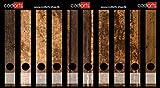 Set 10 Stück schmale Ordner-Etiketten selbstklebend Ordnerrücken Sticker Aufkleber rustikales Holz Design braun Holzdekor Vintage