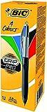 BIC 4-Farb-Druckkugelschreiber Grip Pro / 4 in 1 Kugelschreiber / Rot, Blau, Schwarz und Grün / Dokumentenecht / Mit gummiertem Griff/ Strichstärke 0,4mm / Stifte Set mit 12 Mehrfarbenstiften
