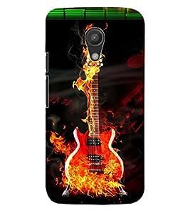ColourCraft Burning Guitar Design Back Case Cover for MOTOROLA MOTO G2