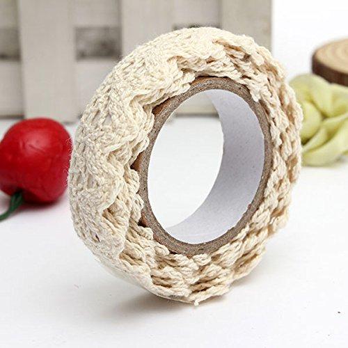 Encaje decorativo-Rollo de cinta con cinta adhesiva para regalo Masking Tape artesanía 1,7 m paño de algodón