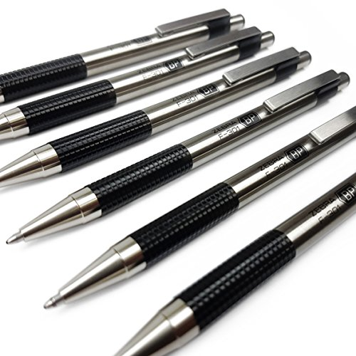 Zebra F-301–Edelstahl Kugelschreiber mit Druckmechanik, Medium, schwarze Tinte, 6Stück (Zebra Kugelschreiber F 301)