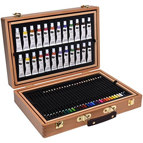127 pcs. Artina Art Kit Bologna Wooden Case - Watercolour Oil Pastels & Acrylic Paints, Coloured Pencils, Pencils & More