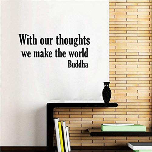 Wandaufkleber Dekoration 50cm * 25cm Buddha Wandaufkleber Zitat Mit unseren Gedanken machen wir die Welt Buddhismus Wandkunst Aufkleber buddhistischen Dekor