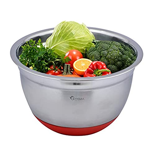 Kosma Stainless Steel Deep Salad Bowl   Mixing Bowl with Red Non-Slip Silicone Base - 26 cm (5 Litre)