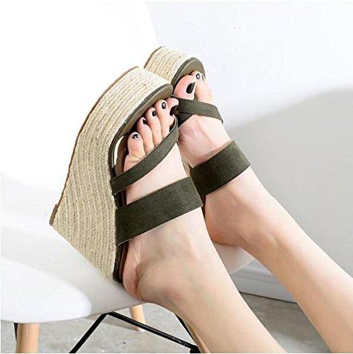 ZPPZZP Mme sandales chaussons épais été faites glisser extérieur talon haut 37EU
