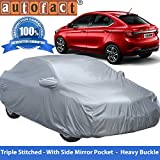 Autofact Premium Silver Matty Triple Stitched Car Body Cover with Mirror Pocket for Tata Tigor