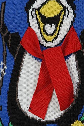 Adultes Loyalty & Faith Designer 3D tricoté Pull De Noël Advent - Bleu Océan