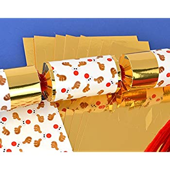 8 gold foil standy uppy rudolph make your own christmas crackers kit 8 gold foil funky rudolph make fill your own christmas crackers kit solutioingenieria Images
