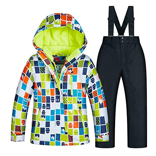 Yuqianqian Damen Skijacke warm Jacken Winteranzug Winddicht Wasserdichter Skianzug Dicke Warme Kinder Skianzug Jungen (Farbe : C9+Black Pants, Größe : 10 Yards) -