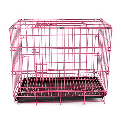 Homgrace Large Dog Crate Dustproof Puppies Cage Crate Training a Puppy Full Sizes with Non-Chew Metal Tray Exercising Playpen (Black)