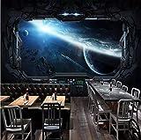 Mkkwp Benutzerdefinierte 3D Fototapete Cosmic Space Cabin Raumschiff Wandmalerei 3D Restaurant Hotel Internet Gaming Room Wandbild Tapeten-140Cmx100Cm
