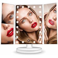 Espejo de Mesa, [Regalo para Madre] HAMSWAN Espejo de Maquillaje Tríptico, Espejo Cosmético Pantalla Táctil con Aumentos 1x, 2x, 3x, Iluminacíon 21 Led Carga con USB o Batería, Adjustable 180º Plegable