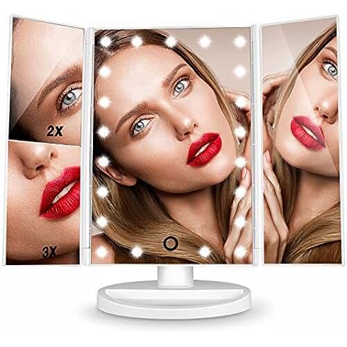 Espejo de Maquillaje, [Regalo de San Valentín] HAMSWAN Espejo de Mesa Tríptica, Espejo Cosmético Pantalla Táctil con Aumentos 1x, 2x, 3x, Iluminacíon 21 Led Carga con USB o Batería, Adjustable 180º