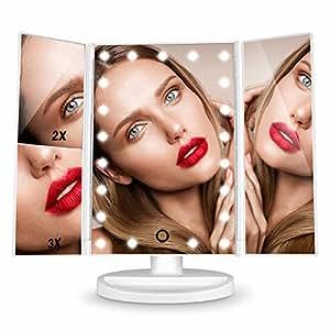 HAMSWAN specchio trucco illuminato a LED Pieghevole Che Consente 180 Gradi di Rotazione, è Capace di Ingrandire 1X 2X 3X. Migliorare la tua Bellezza Direttamente a Casa Tua