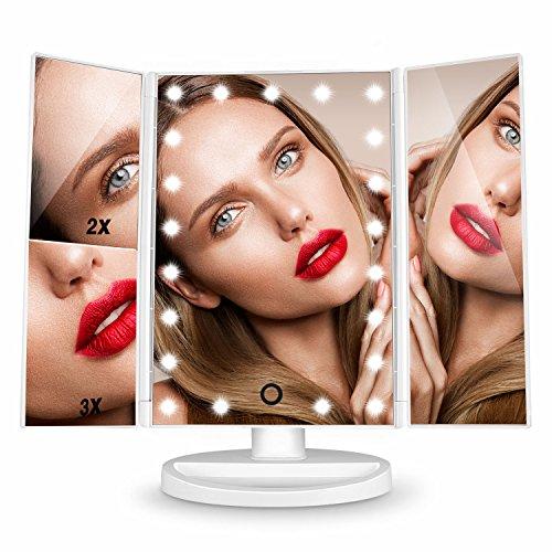 Espejo de Mesa, [Regalos] HAMSWAN Espejo de Maquillaje Tríptico, Espejo Cosmético Pantalla Táctil con Aumentos 1x, 2x, 3x, Iluminacíon 21 Led Carga con USB o Batería, Adjustable 180º Plegable