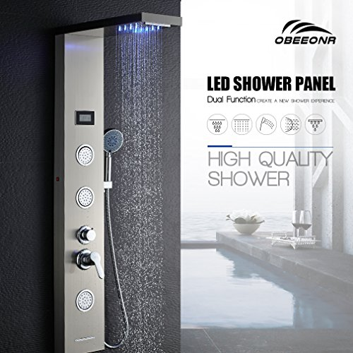 Obeeonr® pannello colonna doccia idromassaggio effetto led in sus304 acciaio inox 5 funzioni set doccia completo con soffioni doccia + abs doccia a mano soffione
