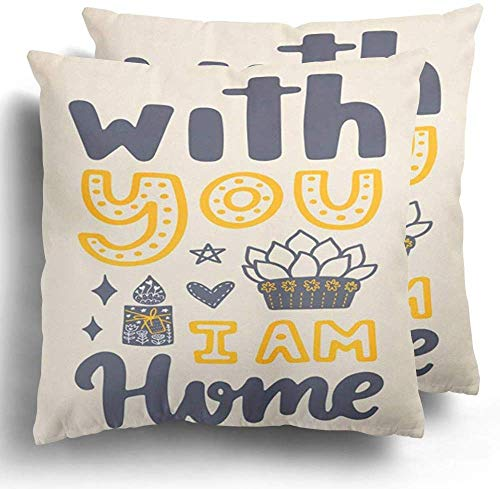 xububaihuodian Fundas de Almohada Throw Pillow Covers Set of 2 Nordic Phrase and Lettering Color Quote Hygge Cozy Candle Comfort Creative Cushion Case Couch Bed Home Decor 18'x18'