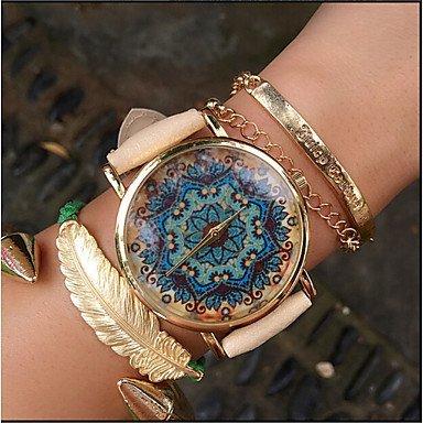 Paisley-Uhr, Vintage-Stil lederne Uhr, Frauen Uhren, Unisex-Uhr, freund Uhr, boteh Hippie-Revolution ( Farbe : Beige , Großauswahl : Für Damen-Einheitsgröße )