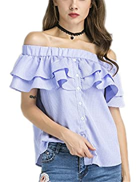 dangyin Elegante Botón a Cuadros Camisa de Hombro Top Mujeres Blusas Moda Marca de Las Señoras Casual Verano Volante...