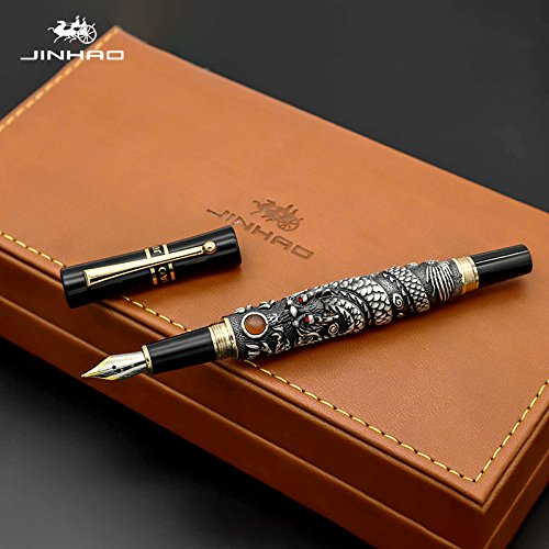 Jinhao - Pluma estilográfica de dragón volador de 0,5 mm Nib18KGP de tinta de caligrafía bolígrafos para regalo de escritura