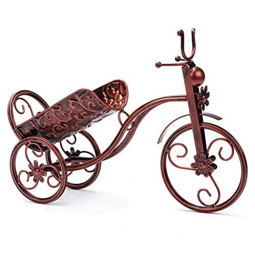 halter Arbeitsplatte aus Metall Schmiedeeisen Weinhalter / -ständer, Handwerk, Dreirad-Kunstdekor, antike Bronze, 37 × 25 cm ()