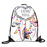 Drawstring Backpack Gym Bags Storage Backpack, Hand Drawn Dream Catcher Illustration Ethnic Bohemian Style Image Vibrant Colored,Deluxe Bundle Backpack Outdoor Sports Portable Daypack