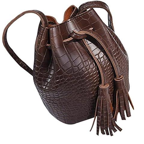 Bovake , Sac à main porté au dos pour femme - marron - marron,