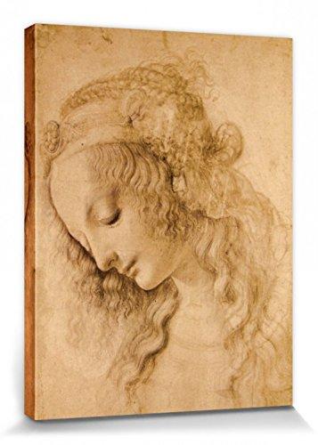 1art1 87389 Leonardo Da Vinci - Weiblicher Kopf, Circa 1478 Poster Leinwandbild Auf Keilrahmen 80 x...