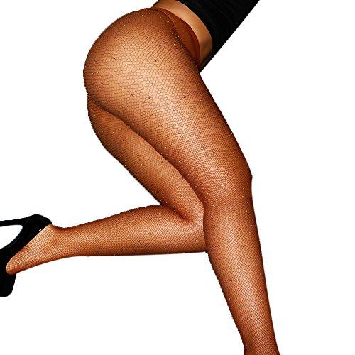 Dessous Strümpfe Damen AMUSTER Mesh Unterwäsche Nachtwäsche Lingeries Reizwäsche Sexy Frauen Fischnetz Mesh Strümpfe Strumpfhosen Unterwäsche Versuchung (Free size, Kaffee) (Gold-fischnetz-strumpfhose)