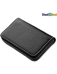 Stealodeal Full Black Leather Card Holder