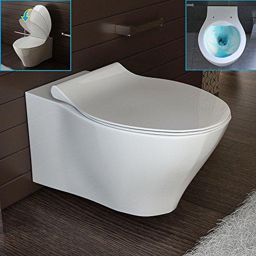Keramik Hänge WC Spülrandlos Toilette inkl. Duroplast WC-Sitz abnehmbar mit Softclose, passend zu GEBERIT Wand WC ohne Spülrand