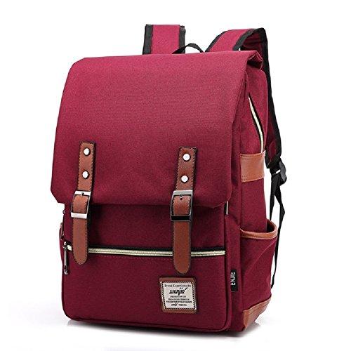 freemaster Vintage Casual Unisex Zaino Scuola Borsa Da Viaggio Zaino Daypack Tablet Borse, Black (rosa) - UKBB0006 Red
