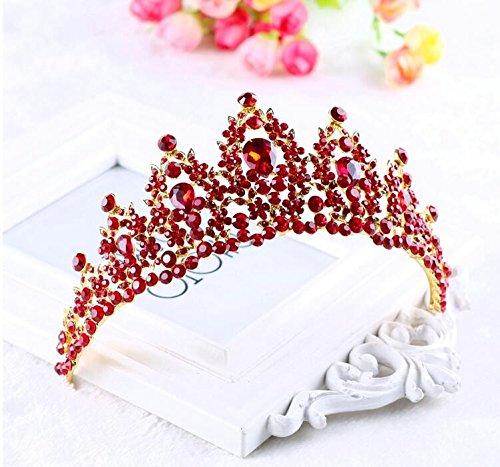 Olici MDRW-Bridal Hochzeit Ballsaal Haarnadel Haarschmuck Rot Braut-Krone Schmuck Krone Kleid Zubehör EIN