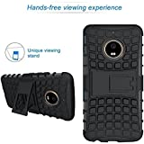 HITFIT Defender Shockproof Hard Back Case Cover With Flip Stand For Motorola Moto E4 - Black