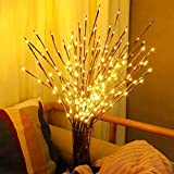 Mallallah Branches LED Willow Twig Bouquet Lumières Saule Décoratives Intérieure Maison à Piles 20 Ampoules Guirlande Lumineuse pour Chambre Jardin Mariage Noël