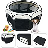 Black pet play pen - Large pet play pen for indoor and outdoor use - easy assembly