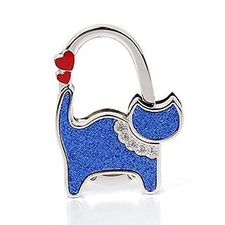 ALLtree Ladie's Folding Bag Handbag Table Hook Hanger Holder Heart Cat (Blue)