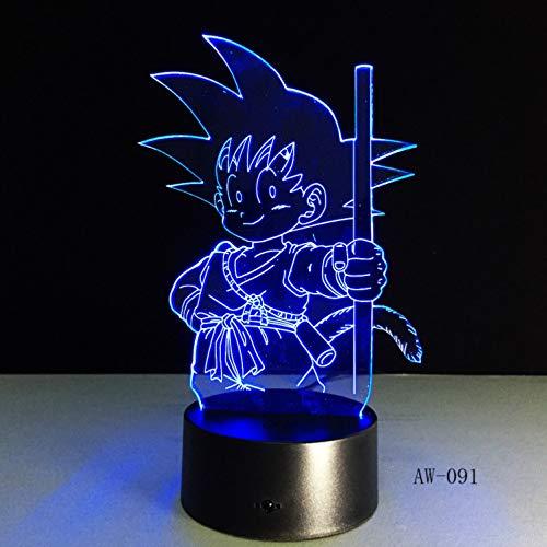 e Falsche Lampe Dragon Ball Super Race Divine Goku Aktion Diagramm 3d Phantom Tischlampe 7 Verfärbt Nachtlicht-kind Geschenke ()