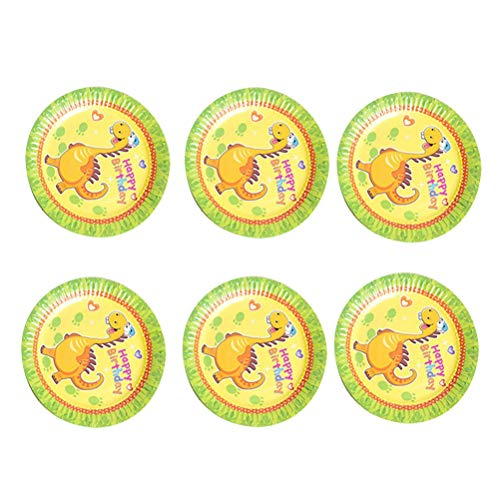 ound Disposable Plates Cartoon Pattern Paper Tableware Dinner for Kids Birthday Party Carnival Supplies (6pcs Plates) ()