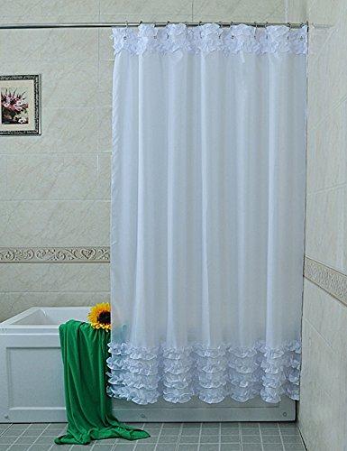 Rideau de douche de haute qualité --- Dentelle Pure Blanc Rideaux de douche Imperméable Rideaux de bain Jupe Rideaux de salle de bains frais (Multiple / Taille en option) --- Rideau de douche pour salle de bain étanche ( taille : 180*240cm )
