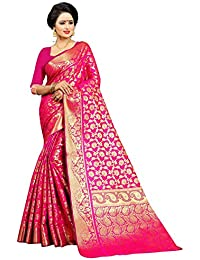 Jay Fashion Women's Banarasi Silk Kanjivaram Embellished Saree with Blouse Piece (jfs502, Pink)